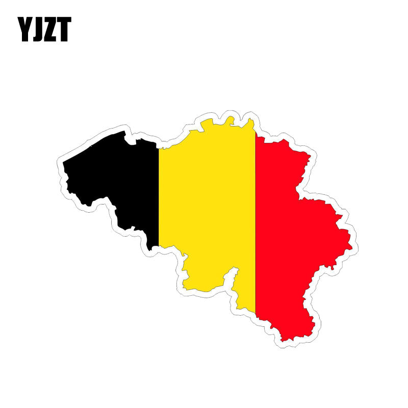YJZT 14.2CM*11CM Personality Car Sticker PVC Belgium Map Flag Decal 12-1373