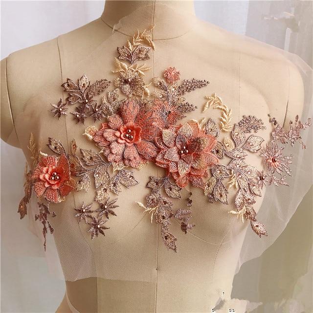 Parche de tela de encaje con cuentas de flores para boda/vestido de noche bordado apliques accesorios decoración de ropa de mujer