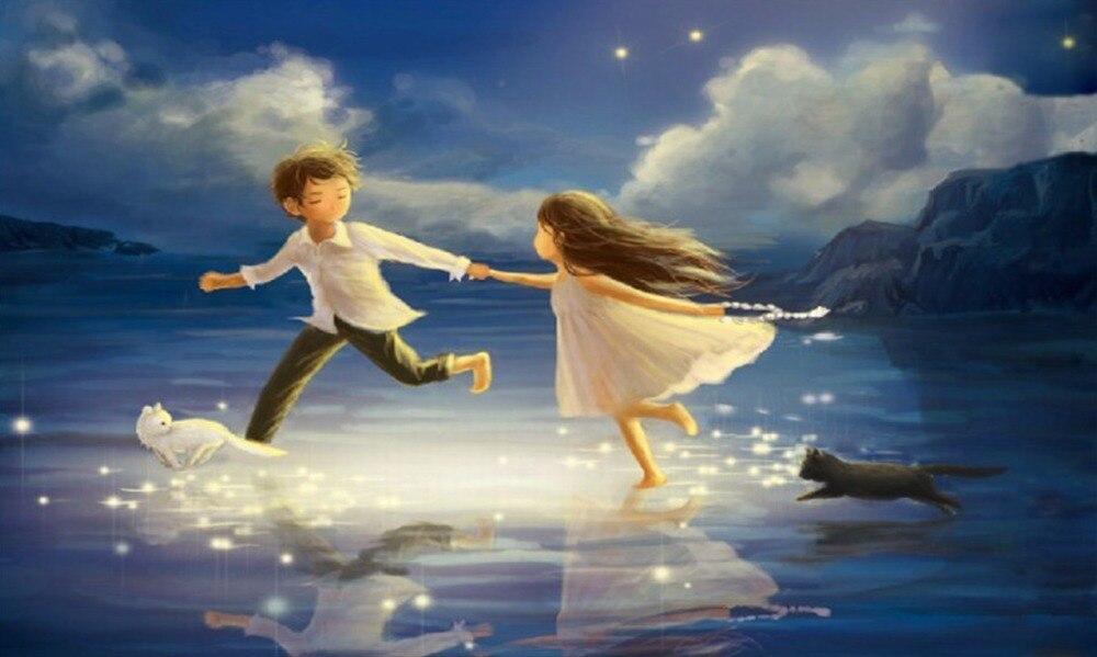 Вышивка девочка и мальчик у моря