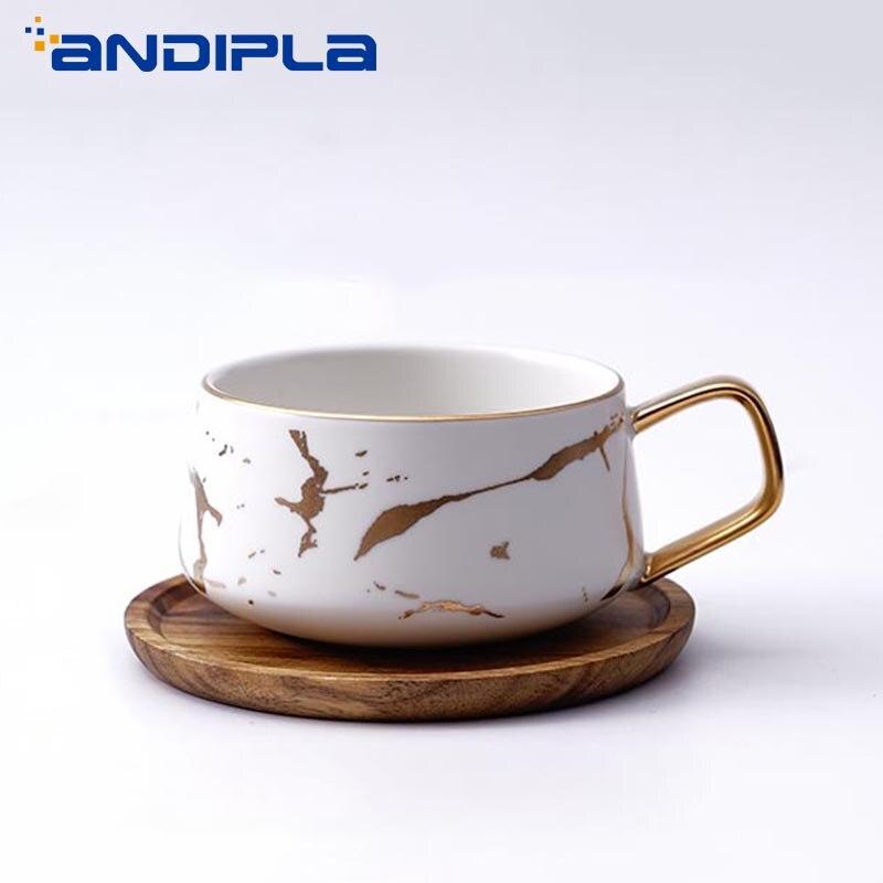 320/400 ml ins Nordic Criativo Textura de Mármore Cerâmica Banhado A Ouro Lidar Com Copo Caneca Tampa de Madeira Pires Xícaras de Café café da manhã Leite Canecas