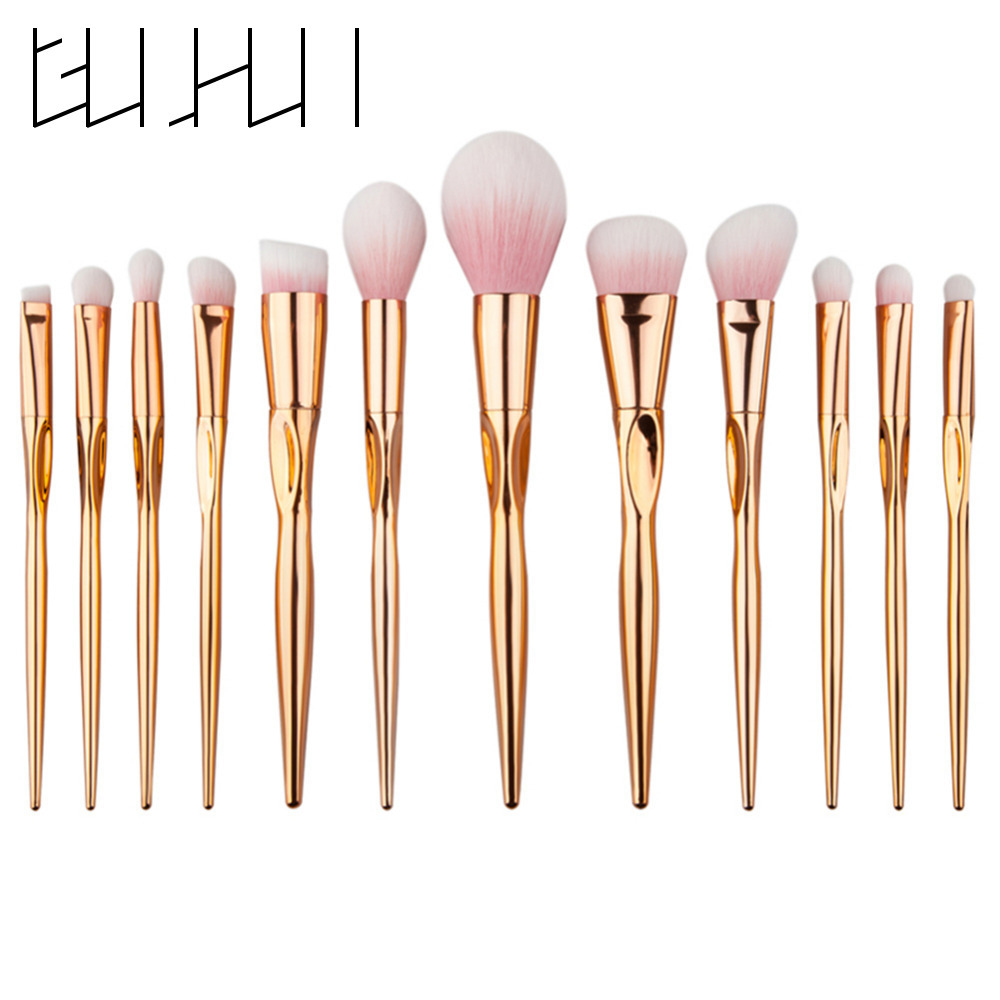 New 12pcs Nylon Makeup Brush Set Foundation Face Blusher Eyeshadow Eyebrow Contour Concealer Powder Brushes Cosmetic Makeup Kit new lcbox professional 16 pcs makeup brush set kit pouch bag cosmetic brush kit cosmetic powder foundation eyeshadow brush tools