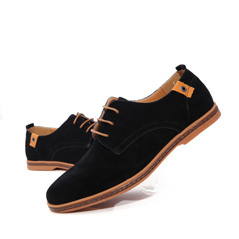 Shoes Moccasins Solid-Loafers Split Men'ssneakers Breathable Genuine-Leather Man Lace-Up