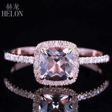 솔리드 10 k 로즈 골드 인증 쿠션 0.9ct morganite 다이아몬드 약혼 반지 여성 결혼 로맨틱 쥬얼리 반지 클로 프롱