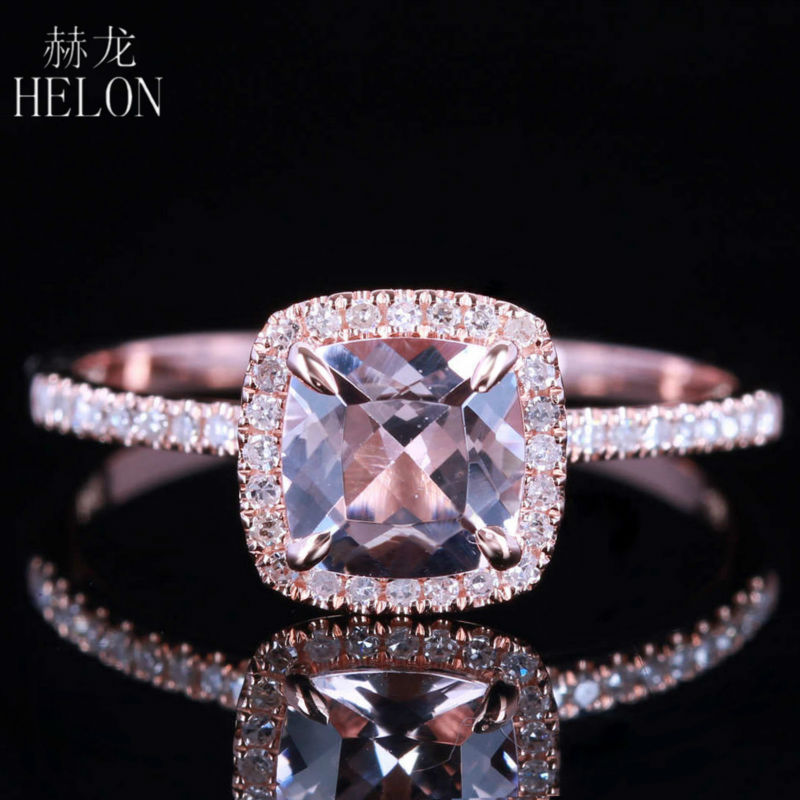 HELON Claw Prongs 6X6mm Cushion Pink morganite engagement ring Solid 10K Rose Gold Wedding Pave Natural Diamonds Ring Jewelry helon cubic zirconia cz solid 10k yellow gold pave prongs setting wedding ring engagement rings for women