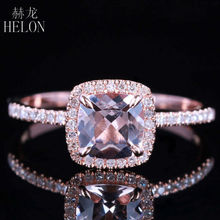 Sólido 10 k rosa ouro certificada almofada 0.9ct morganite diamantes anel de noivado feminino casamento romântico jóias anel garra prongs