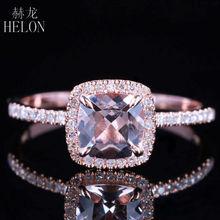 Solid 10K Rose Gold Certified Kussen 0.9ct morganite Diamonds Engagement Ring Vrouwen Bruiloft Romantische Sieraden Ring Klauw Gaffel
