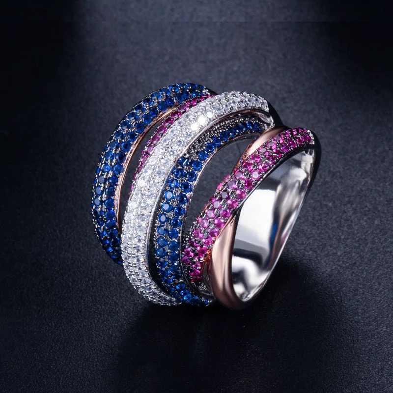 Accking Luxus Geometrie Zirkonia Engagement Braut Finger Ringe Schmuck Micro gepflasterte fünf reihen AAA Zirkon Ring