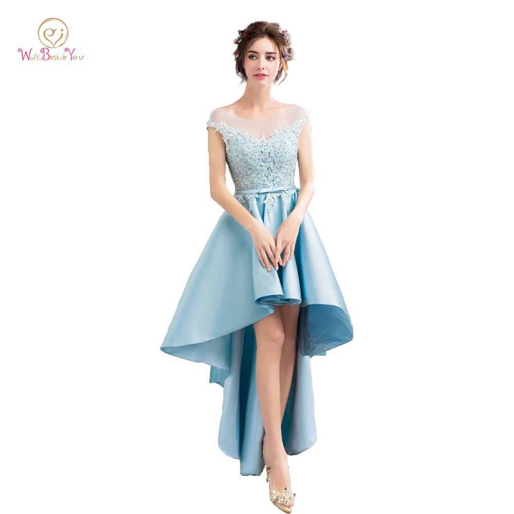 Blue Vestidos Para Graduacion   Prom     Dress   2019 Sheer Lace Satin Short Front Long Back with Pocket Evening Gowns Party Formal Gown