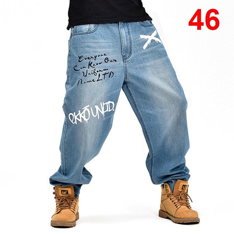 Smart Baggy Jeans Men Denim Pants Loose Streetwear Jeans Hip Hop Casual Print Skateboard Pants For Men Plus Size Trousers Blue S96 A Great Variety Of Models