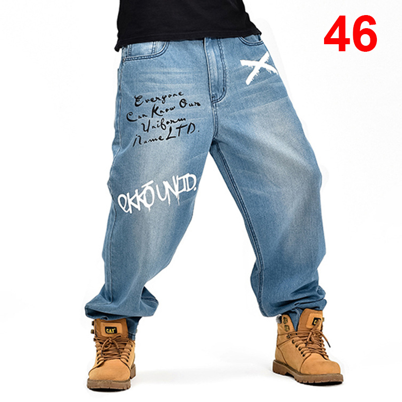 Baggy   Jeans   Men Denim Pants Loose Streetwear   Jeans   Hip Hop Casual Print Skateboard Pants for Men Plus Size Trousers Blue S96