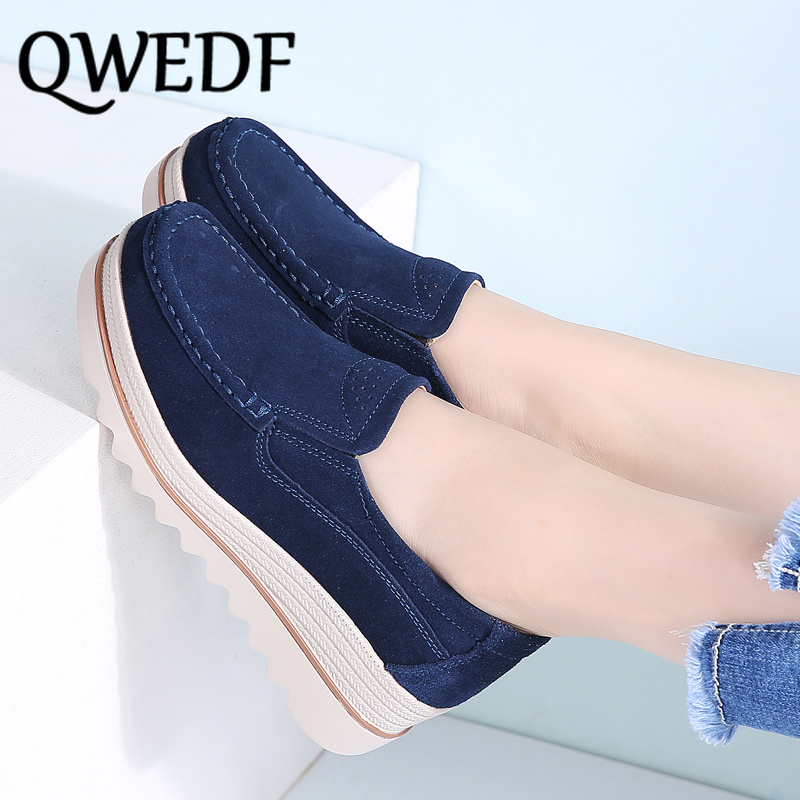 2019 Spring women flats shoes platform sneakers shoes leather suede casual shoes slip on flats heels creepers moccasins MJ-30