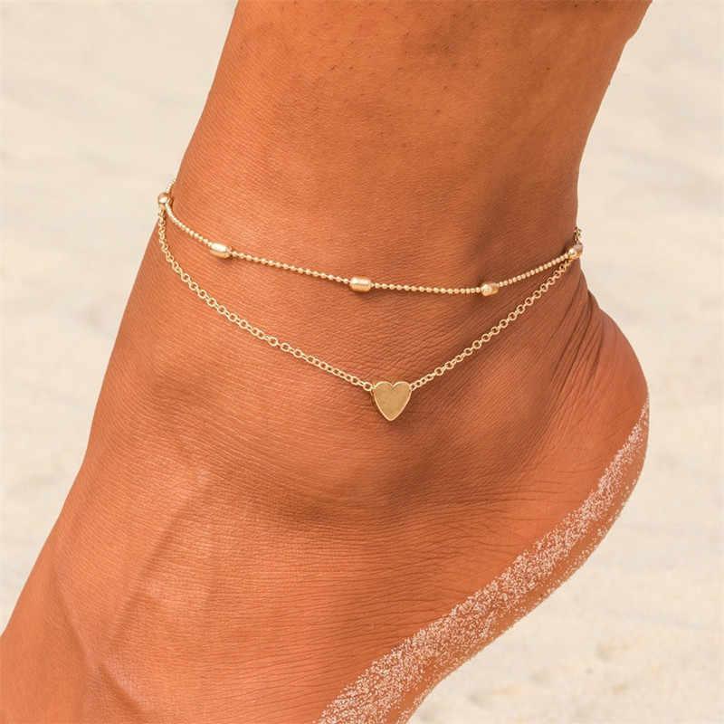 ขาง่ายหัวใจหญิง Anklets เท้าเปล่าโครเชต์รองเท้าแตะเท้ารองเท้าแตะขา New Anklets เท้าข้อเท้าสร้อยข้อมือสำหรับผู้หญิง