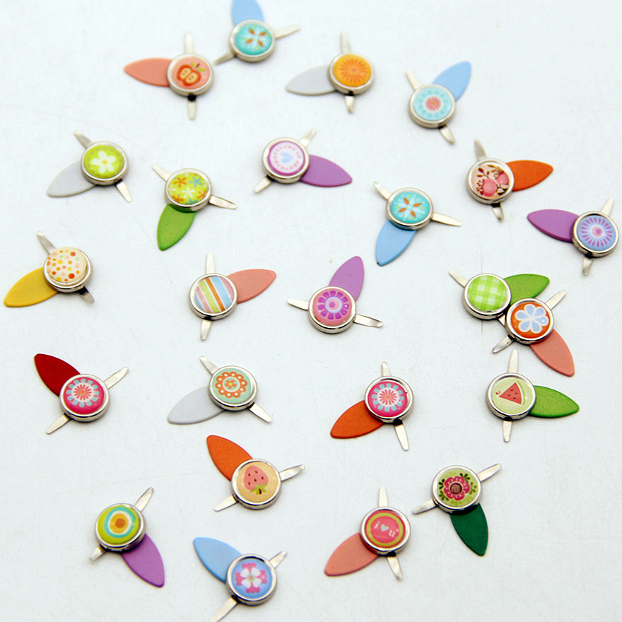 Mix Flower Resin Metal Brads Crafts Rotating Locks Scrapbooking Accessories Decor Embellishment Fastener Buttons For DIY Album
