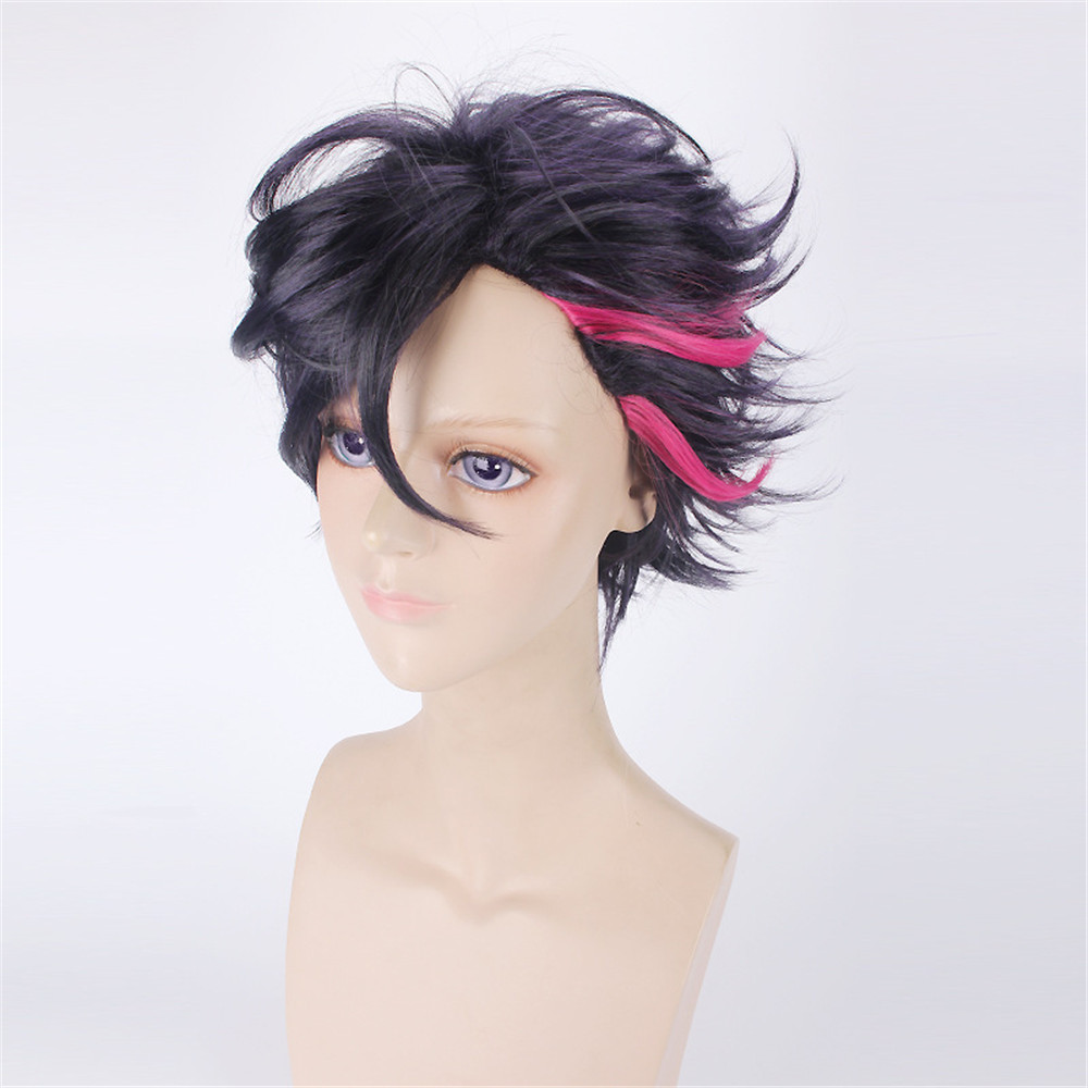 Hot Sale Anime The Animation Mutsuki Hajime 40cm Short Curly Cosplay Wigs for Man Boys Universal Fake Hair Wig Black and Red
