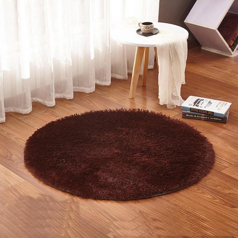 Yoga Living Room Carpet Kids Room Rugs Soft and Fluffy Warm,Brown Color Custom Size, Diameter 60,80,100,120,160cm