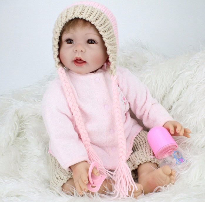 55cm silicone vinyl newborn baby doll toy lifelike pink <font><b>princess</b></font> <font><b>toddler</b></font> doll-reborn girl child kids brithday gift brinquedos image