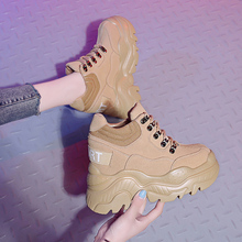 Fashion Womens Hidden Heel Shoes Casual Lace Up Round Toe Black Beige Students Leisure S83 цены онлайн
