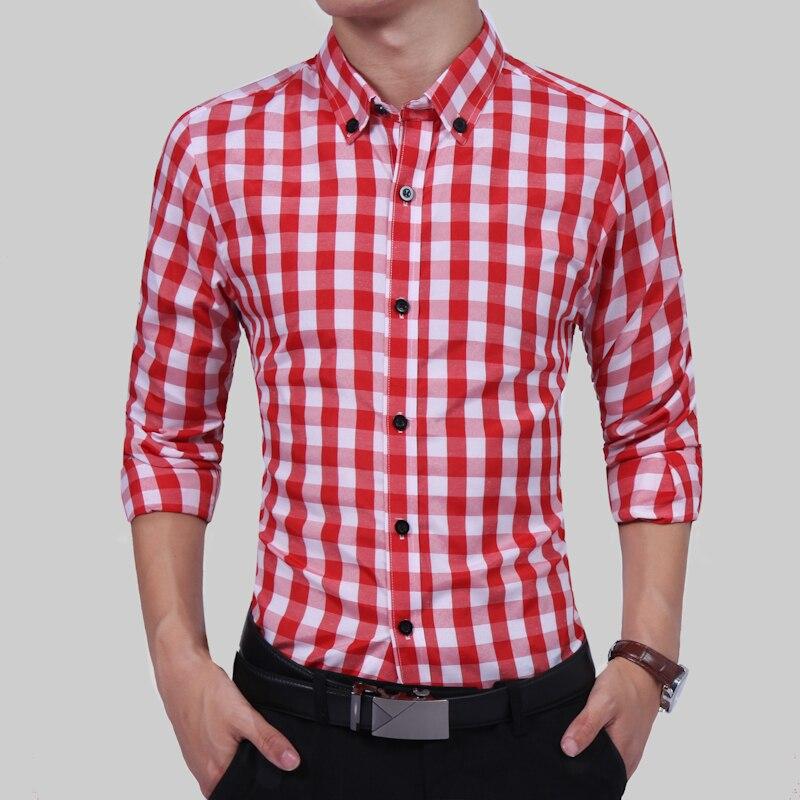 14c241898e Comprar Camisa a cuadros roja y gris para hombre Camisas 2018 nueva moda de  verano Chemise Homme hombres camisas a cuadros camisa de manga larga para  hombre ...