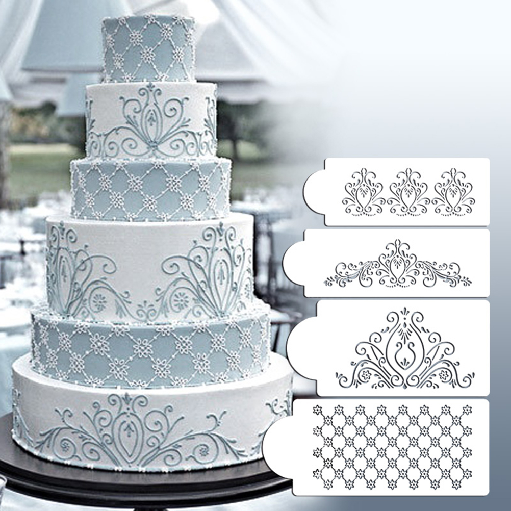 4pcs Set Wedding Cake Stencil For Cake Side Decoration Cookies