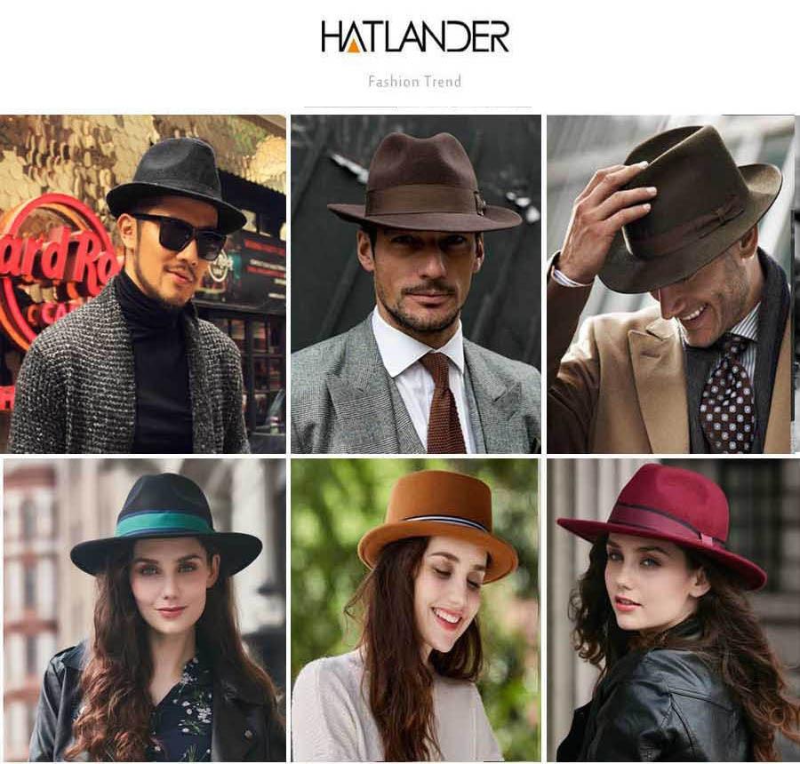 57c1f0b2092 HATLANDER Retro Cavalheiro chapéu panamá fedora trilby Jazz cap ...