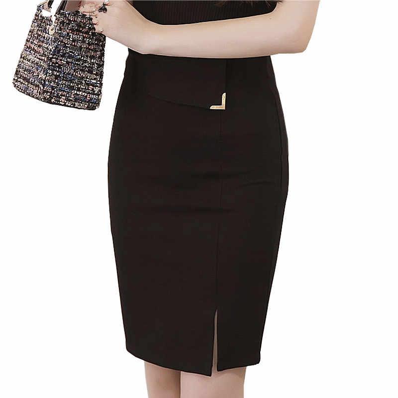 Плюс Размеры Для женщин офисные юбки Faldas 5XL Высокая Талия Для женщин Bodycon Карандаш Юбка Открытый Длинный разрез юбка миди стрейч красный топ и юбка с SK2