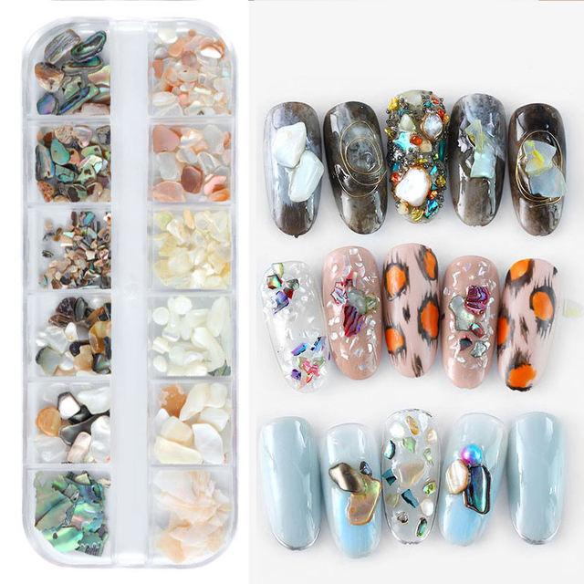 1 Box 3D Abalone Shell Irregular Nail Art Decorations UV Gel Flake Slider Nails Shimmer Pearl Jewelry Tips Nail Art Decoration