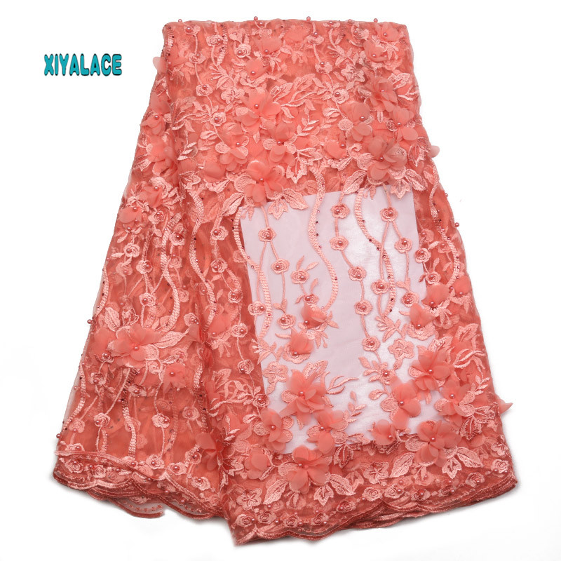 Nigerian Beaded Lace Fabric 2019 High Quality African 3D Net Lace Fabric Wedding French Tulle Lace Material For Dress YA2017B-3