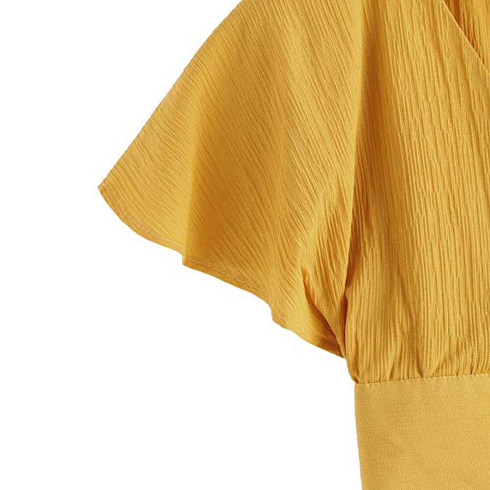 Women Ladies Bow Short Sleeve Shirt Blackless V Neck Short Tops Polyester Solid Women's Harajuku Crop top #7925 12 Online shopping Bangladesh