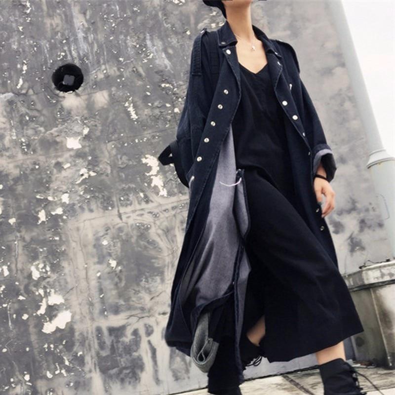최대 lulu 2019 가을 패션 한국어 streetwear 숙녀 캐주얼 블랙 롱 코트 여성 데님 트렌치 펑크 진 윈드 브레이커 플러스 사이즈-에서트렌치부터 여성 의류 의  그룹 3