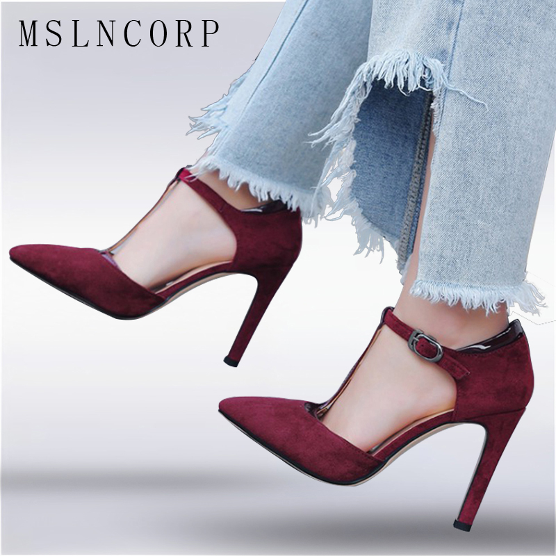цена на Plus Size 34-43 Sexy Summer Women Sandals Thin High Heel Pointed toe Shoes Ankle Buckle T Strap Ladies Wedding Party Pumps Shoes