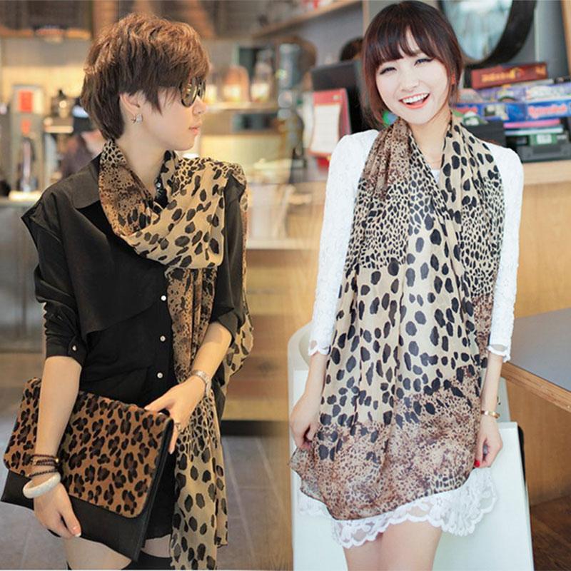 Fashion Women/'s Long Soft Wrap Lady Shawl Silk Leopard Chiffon Scarf Shawl