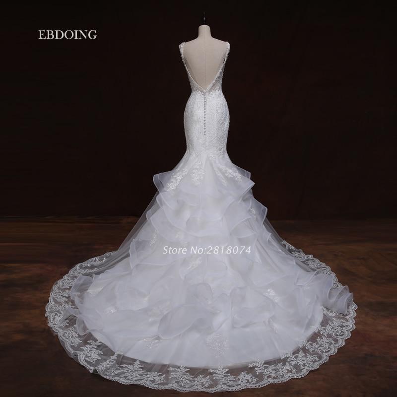 Vestidos De Novia Wedding Dress 2017 Ivory Mermaid V-neck Neckline Robe De Mariage Wedding Gowns With Lace Appliques Beaded