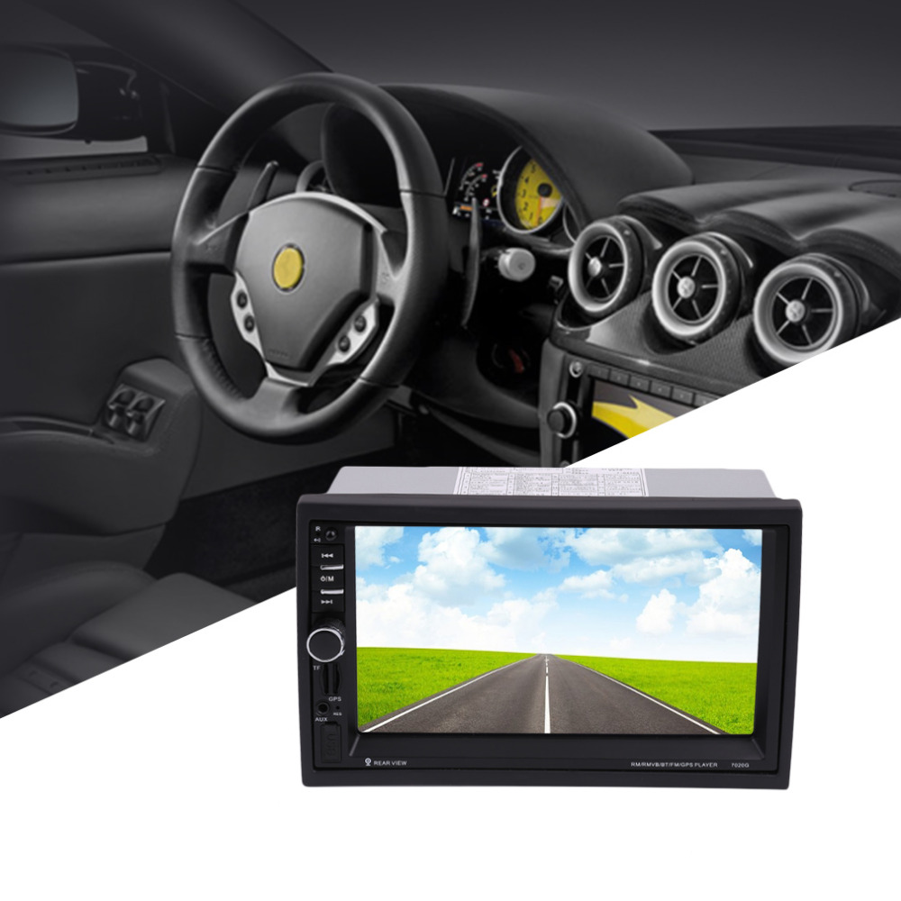 7020G Car Bluetooth Audio Stereo MP5 Player with Rearview Camera 7 inch Touch Screen GPS Navigation FM Function High Quality 7 inch car bluetooth universal audio stereo mp5 player with rearview camera touch screen gps navigation fm function and remote