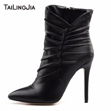Fashion Black Woman Ankle Boots Pointed Toe Folds High Heel Short Boots High Quality 2019 Zipper Plus Size Shoes Free Shipping the new woman thin high heel pointed toe ankle boots fashion back zipper dress boots woman black red