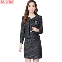 YAGENZ High quality Autumn Winter Clothes Womens Business suit 2 piece set Women Set Tops+Mini Dress Plus size Fashion set 661