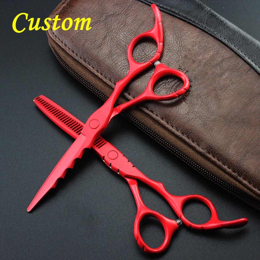 Προσαρμογή Upscale 440c 6 '' κόκκινα μαλλιά ψαλίδι που κοπής κοπής εργαλεία μακιγιάζ κουρέματος ζεστό ψαλίδι λεπίδες αραιών κομμωτήρια ψαλίδι