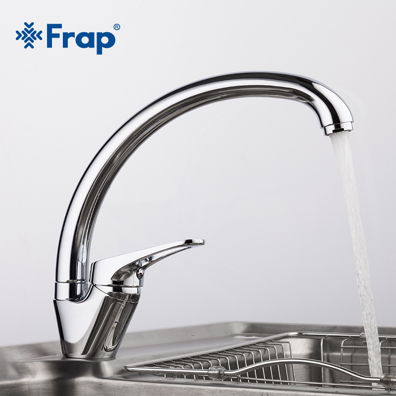 FRAP 360 degree rotation Brass Body Chrome Kitchen sink faucet cold and hot mixer tap Curved Outlet pipe taps F4113-2