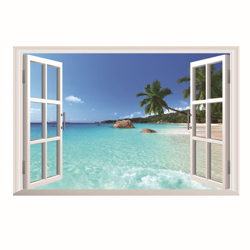 3d Window View Beach Resort Wall Stickers Beach Wall Decor Stencils