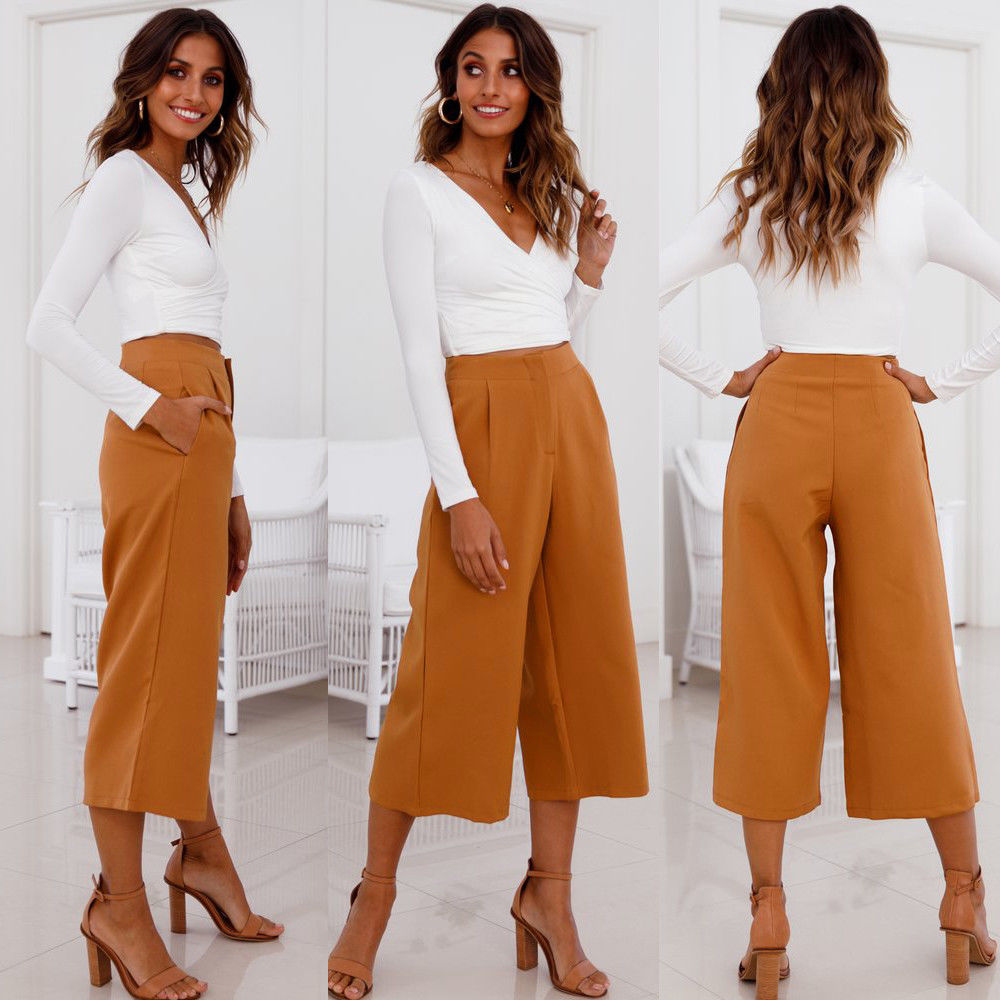Bottoms 2018 Fashion Women Wide Leg High Waist Casual Crop Pants Summer Loose Culottes Trousers Hot Loose Solid Flat Harem Pants