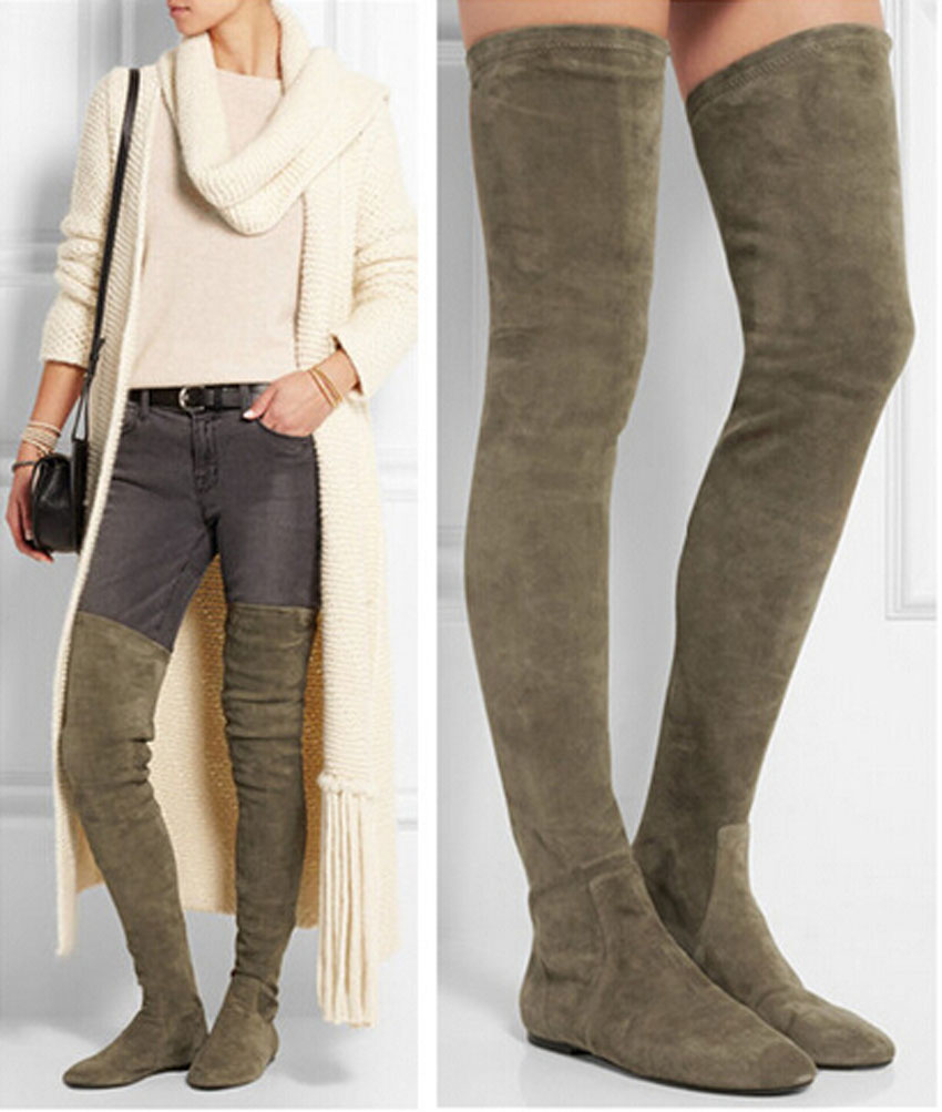 Popular Flat Over Knee Boots Suede-Buy Cheap Flat Over Knee Boots ...