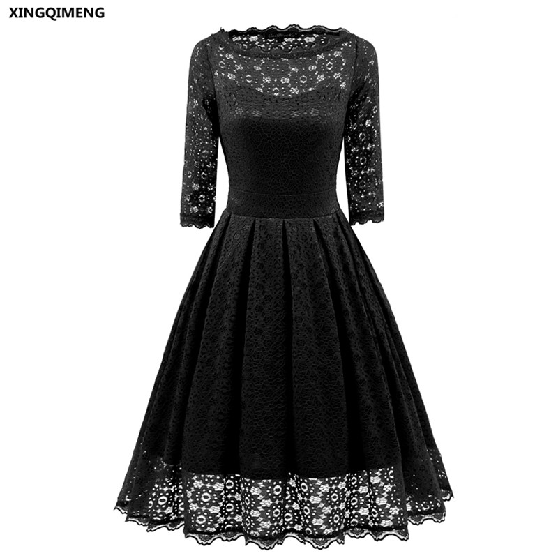 In Stock Cocktail Dresses Full Lace Three Quarter Sleeves ...
