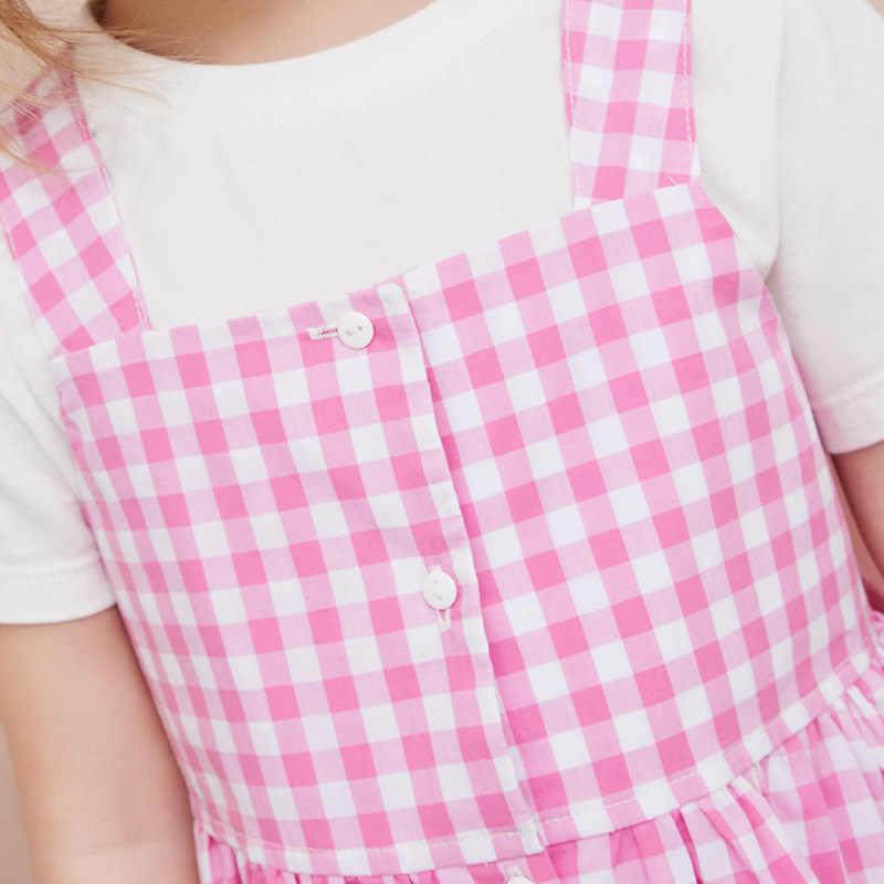 Minibalabala/платье на бретелях для девочек Новинка 2019 года; летнее винтажное платье принцессы тонкие хлопковые платья в клетку с цветочным принтом для девочек
