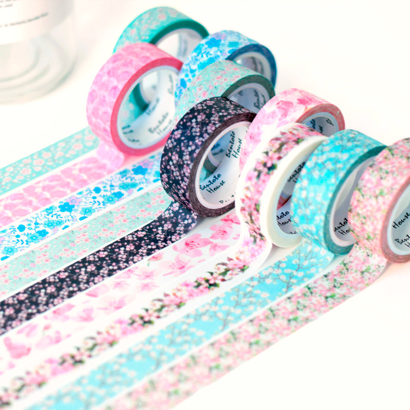 15 colors Romantic Sakura washi tape DIY decorative scrapbooking masking tape adhesive label sticker tape stationery 15MM*7M 1roll 35mmx7m high quality rabbit home pattern japanese washi decorative adhesive tape diy masking paper tape label sticker gift page 8