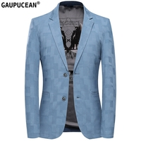 Cotton Easy Care Slim Man Suit Jacket Quality Fashion Male Formal Business Spring Autumn Single Breasted Blue Casual Men Blazer