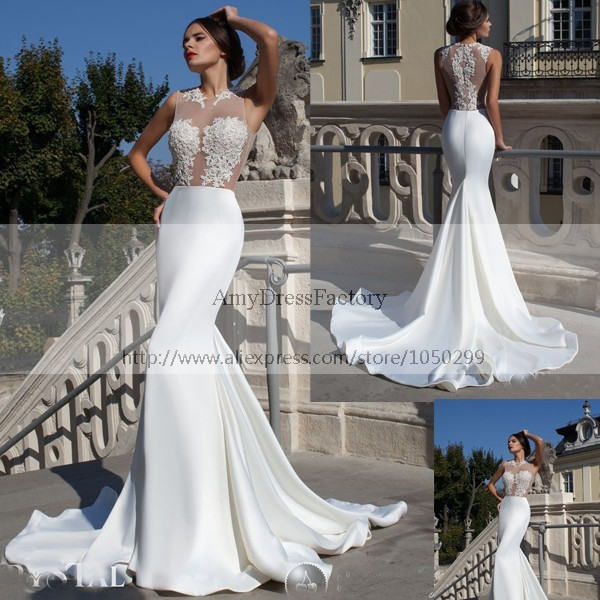 Free Shipping 2017 Fish Tail Wedding Dress Gorgeous Mermaid Bridal Gown Top Lace Vestido De Noiva