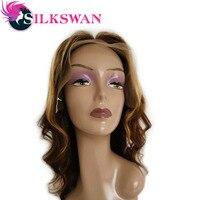 Silkswan бразильские волосы свободная волна предварительно сорвал 14 дюймов Синтетические волосы на кружеве человеческих волос Парики выделит