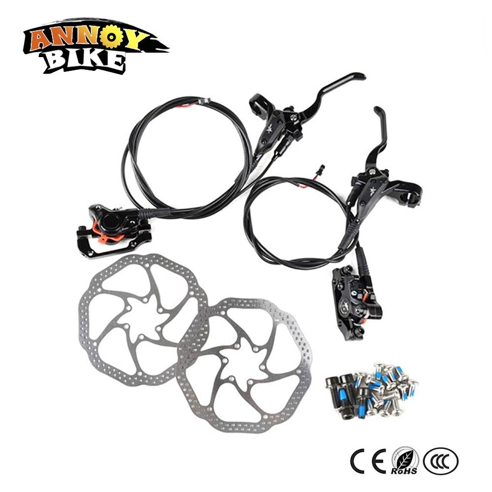160 мм Электрический велосипед гидравлические дисковые тормоза комплект спереди и сзади 160 мм диск масло тормоза с рычагом и клип для MTB велос...