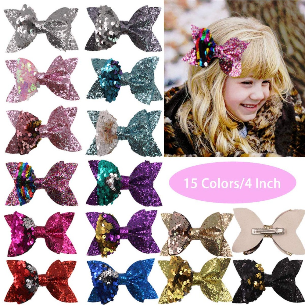 15Pcs Glitter Hair Bows Clips 4 Inch Bunt Sequins Hairclips Alligator Clips Boutique Hair Accessories For Baby Girls Teens Kids