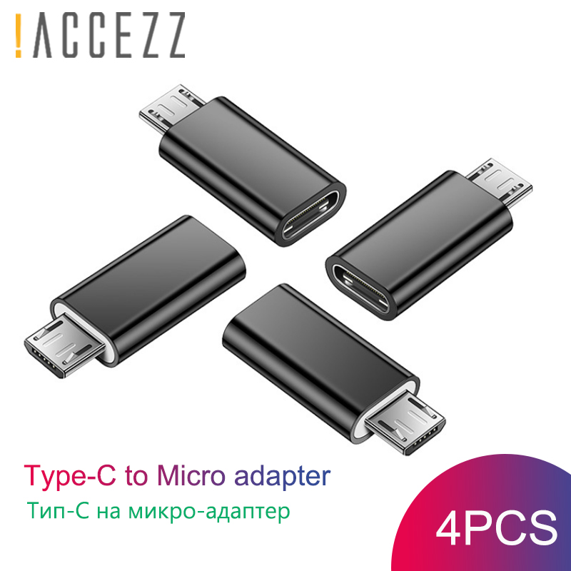 !ACCEZZ 4PC Type-C Female To Micro USB Male Converter USB OTG Data Adapter For Samsung Xiaomi Huawei Honor Android Mobile Phone