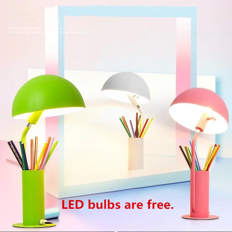 Colorful Table lamp Abajur Luminaria de Mesa Lampara LED Escritorio Pen Container Reading Book Lights Desktop E27 LED Desk Lamp